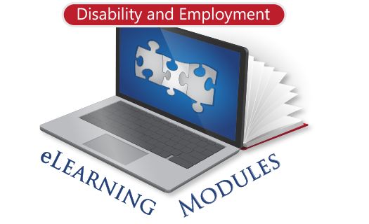 Laptop with puzzle pieces on the monitor with eLearning Modules